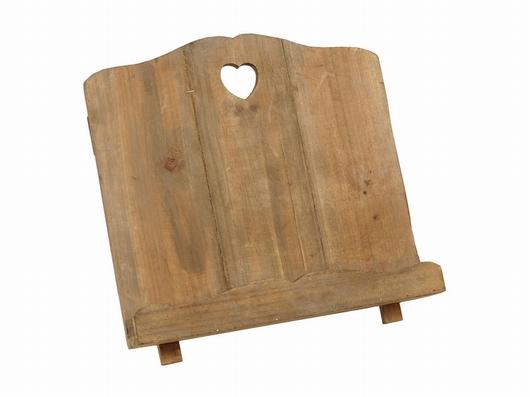 Support livre trépied bois décor coeur