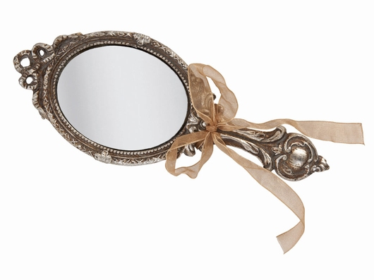 Miroir à main argenté ruban d'antan