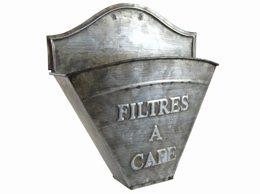 Porte filtres à café effet zinc mural