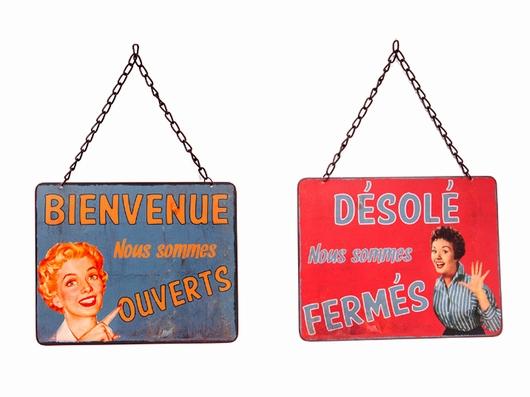 Plaque recto-verso Ouvert Fermé vintage