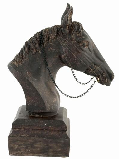 Trophée buste de cheval résine brun