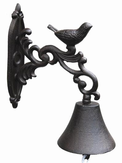 Cloche patère murale fonte - Oiseau
