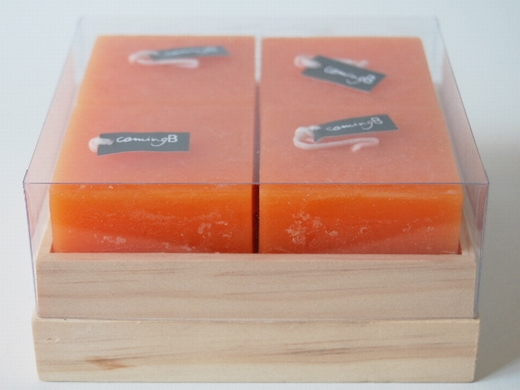 Bougie cube rustic orange