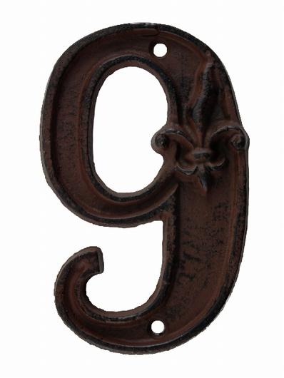 Numéro 9 pour porte de maison