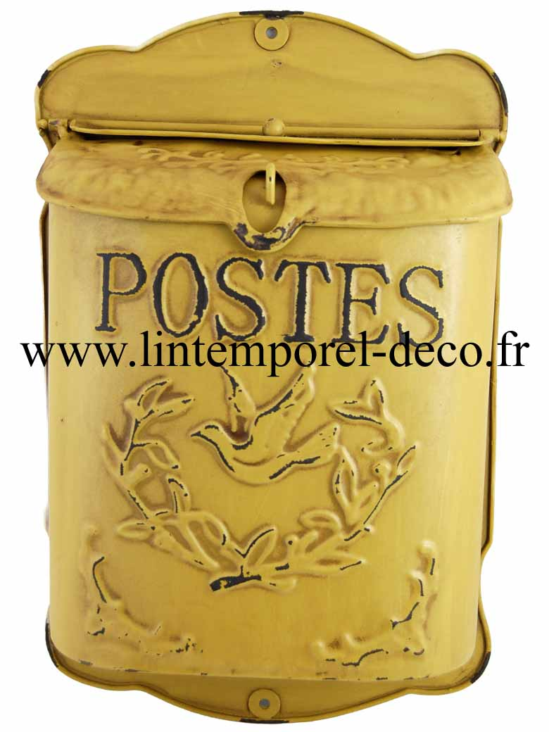 boite aux lettres jaune antique postes achetez sur lintemporel. Black Bedroom Furniture Sets. Home Design Ideas