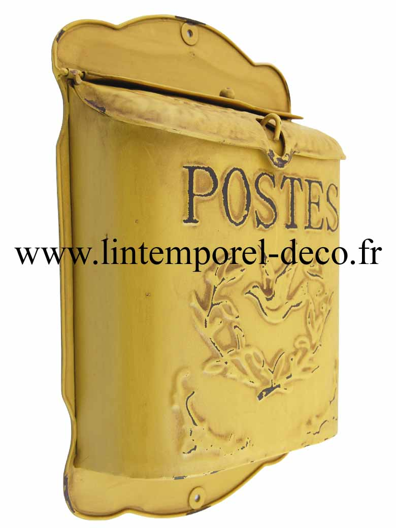 boite aux lettres jaune antique postes lintemporel. Black Bedroom Furniture Sets. Home Design Ideas