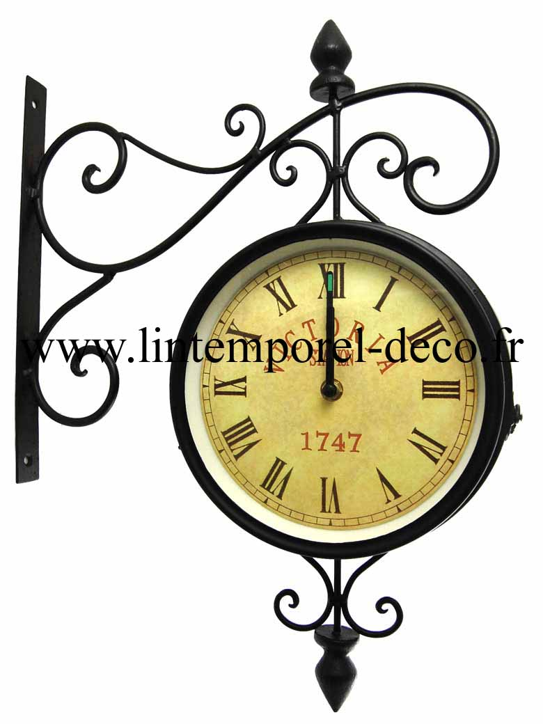 horloge de gare murale fer forg. Black Bedroom Furniture Sets. Home Design Ideas