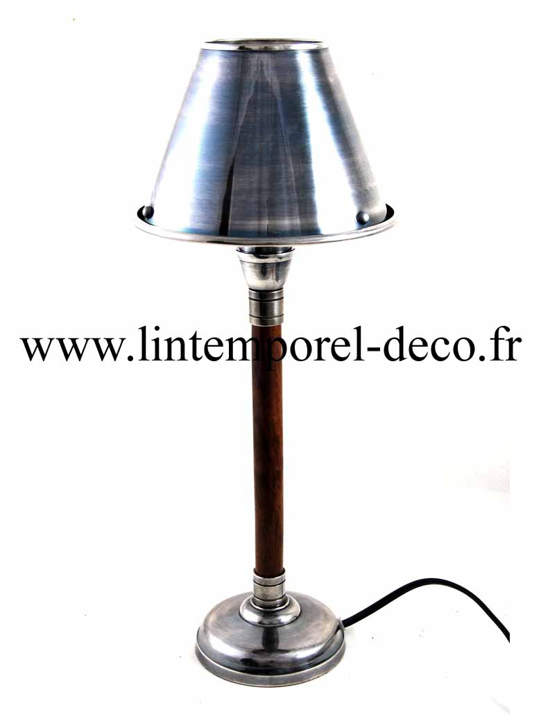 lampe de chevet nickel et bois lintemporel. Black Bedroom Furniture Sets. Home Design Ideas
