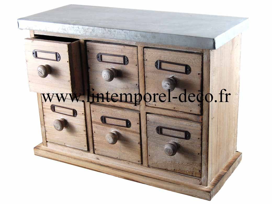 petit meuble mercerie 6 tiroirs bois m tal lintemporel. Black Bedroom Furniture Sets. Home Design Ideas