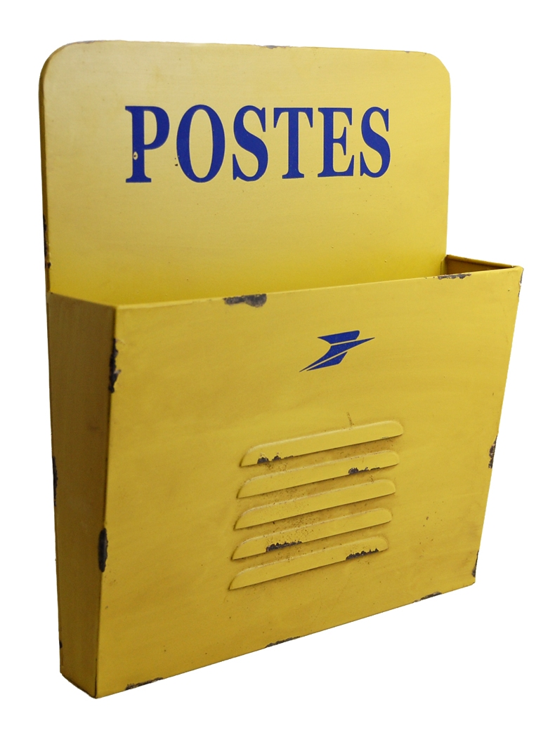 Range courrier mural postes jaune lintemporel for Range courrier mural en bois