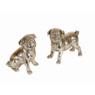 Figurines chiots Bouledogue chromé