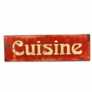 Plaque métal cuisine rouge antique