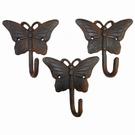 Set 3 patères papillons effet rouille