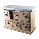 Petit meuble mercerie 6 tiroirs bois-métal