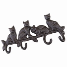 Porte-torchons 4 crochets chats fonte