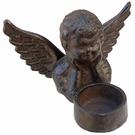 Bougeoir en fonte motif ange brun
