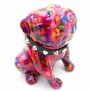 Tirelire de collection chien Bulldog fuchsia
