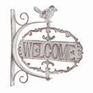 Enseigne pivotante motif oiseau - Welcome