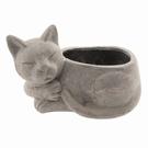 Pot de fleur céramique chat gris à poser