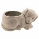 Pot de fleur céramique chien beige à poser