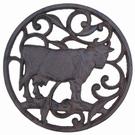Sous-plat rond fonte décor vache