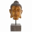 Tête de Bouddha effet bronze sur socle