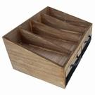 Range couverts en bois avec casiers grillagés