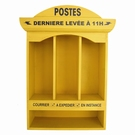 Meuble range courrier mural jaune - Postes
