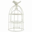 Photophore cage à oiseau en fer gris clair