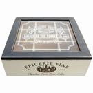 Boîte à thé carrée bois & verre - Epicerie fine