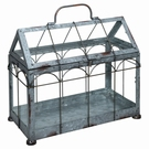 Mini-serre de jardin en verre finition vieux zinc