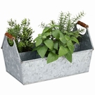 Jardinière 6 casiers avec poignées effet zinc