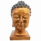Tête de Bouddha en résine dorée sur socle
